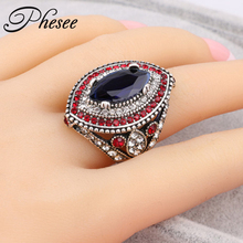 Phesee Turkish Big Size Rings Blue Antique Gold Color Silver Color Women Jewelry Anel Anillo Turco Anies Femme Finger Bijoux