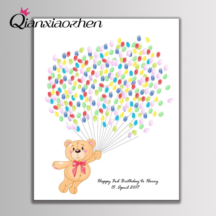 Qianxiaozhen Personalized Cute Bear Fingerprint Guest Book Happy Birthday Party Decorations Kids Supplies Baby Shower