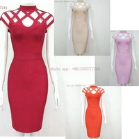 Elegant Summer Dress Short Sleeve Hollow Out Bandage Dress Sexy Vestido Cocktail Formal Gown Special Occasion