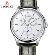 Tierdax Watch Men Fashion Waterproof Clock Male Watch Sports Relogio Masculino Independent Week Date Display Leather Watchband