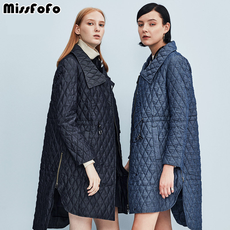 MissFoFo Womens Down Coats CLJ Jackets Fashion Vest Small Plaid Denim Winter Parka Slim Down No