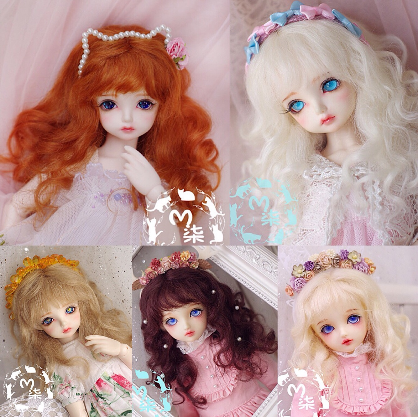 M7-bjd Doll Wig Mohair 8-9inch 7-8inch 6-7inch 5-6inch 4-5inch 3-4inch 1/3 1/4 1/6 1/8 1/12 Blond Brown Red