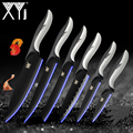 <font><b>XYj</b></font> кухонные принадлежности для варки, нержавеющая сталь ножи инструменты черное лезвие для очистки овощей утилита сантоку шеф-повара нарез...