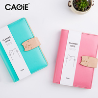 CAGIE A6 Spiral Cute Cat Buckle Planner Notebook Pu Leather School Sketchbook Travel Notebooks And Journals