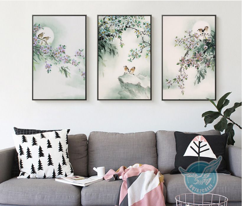 Chinese Ink Canvas Paintings Freehand Bird Flower Decorative 3 Pieces Decoration for Room Unframed
