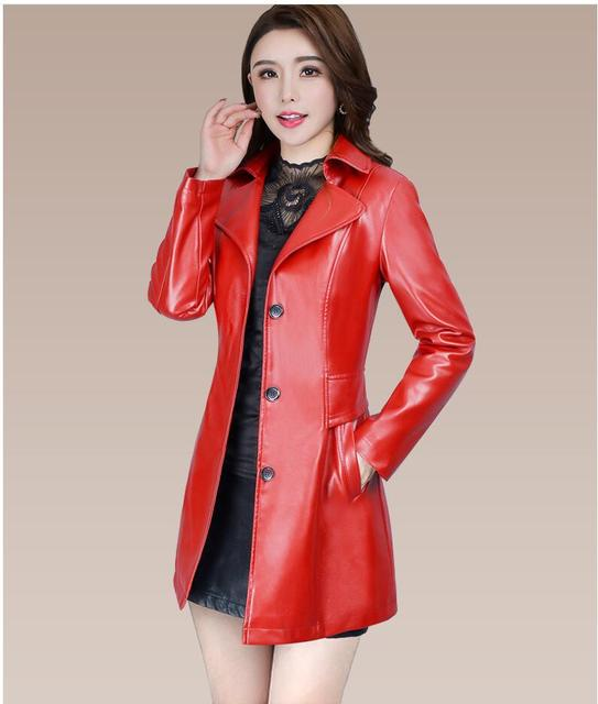 2018 Autumn Winter New Fashion plus size leather Jacket women Leather Jacket Coat women Slim fit long Trench Coat Outwear L-5XL 1