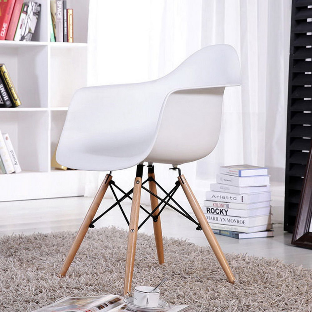 EGGREE Mid Century Modern Accent Armchair Dining Chairs Molded Plastic Shell Wooden Legs for Bedroom Living Room-Set of 4 White set of 6 pp plastic dining chairs beech wood legs