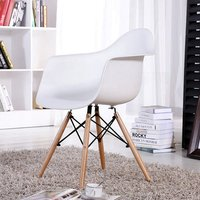 EGGREE Mid Century Modern Accent Armchair Dining Chairs Molded Plastic Shell Wooden Legs for Bedroom Living Room Set of 4 White