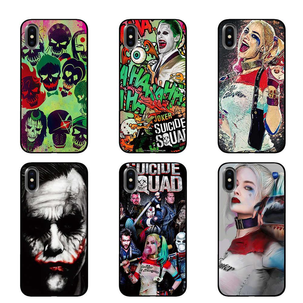 ハーレークイン自殺分隊ジョーカー驚異 DC コミック黒 TPU 高級ケースカバー Apple の Iphone 5 5 S 、 SE 6 6 s 7 8 プラス X XS 最大 XR