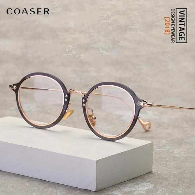 COASER Fashion Retro Eyeglasses Men Women Vintage Metal Optical Transparent Glasses Frame Reading Glasses Myopia Eyewear Oculos