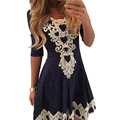 Womens boho gothic party dress túnica media manga vestido plisado 2017 del verano elegante de las señoras midi dress vestidos femininos