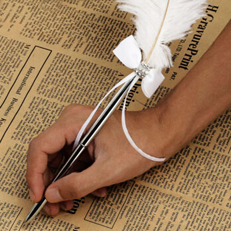 New Pretty Wedding Ostrich White Feather Long Quill Guest Book Signing Pen with Diamante & Bow For Wedding Accessories