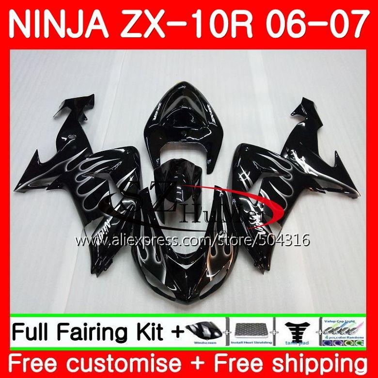 кузов для Kawasaki Ninja Zx10r 06 07 Zx1000c серебро пламя 16sh11 Zx
