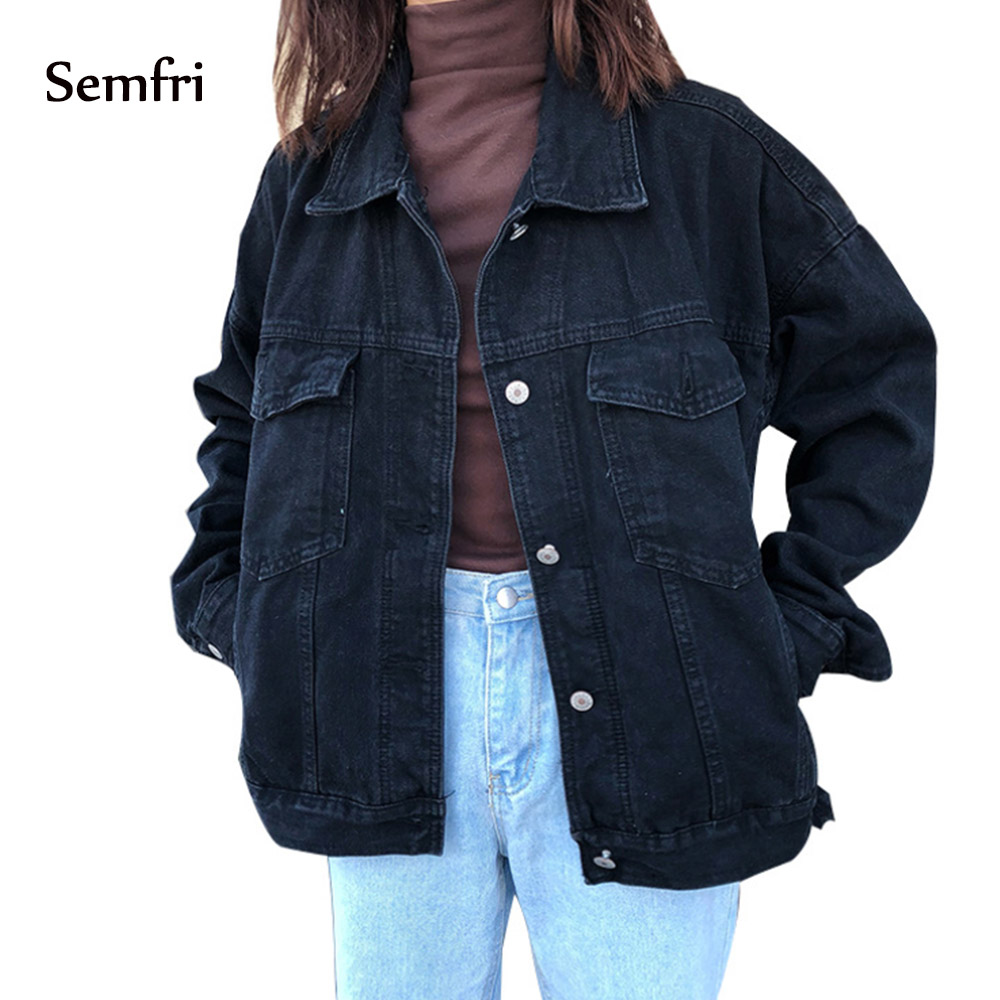 Semfri Jaqueta Jeans 2019 Jeans Preto das Mulheres Blusão Jaqueta Casaco de Inverno Outono Harajuku Streetwear Ocasional Bolsos Soltos alta qualidade de vestuário de moda coreana BF moda casacos soltos