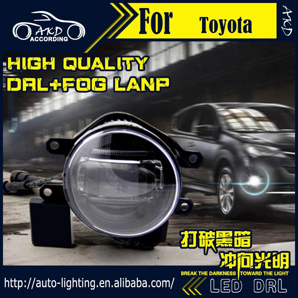 Akd car styling fog light for toyota tacoma drl led fog light headlight 90mm high power