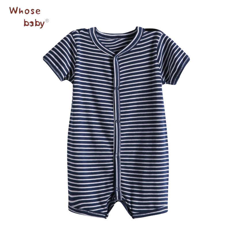 Newborn Baby Rompers Summer Striped Cotton Boy Romper Short Sleeves Infant Body Suit Soft And Comfortable 0-2T Baby Clothes summer 2017 navy baby boys rompers infant sailor suit jumpsuit roupas meninos body ropa bebe romper newborn baby boy clothes