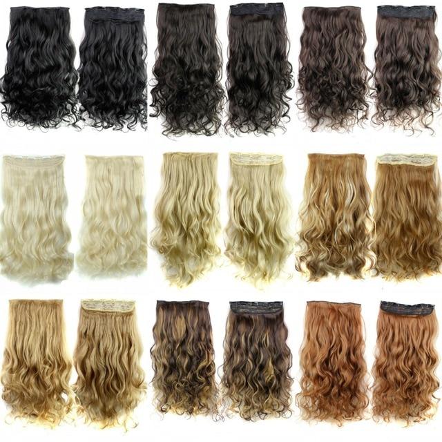 Длинные волнистые 5 клипы в выдвижении, черный/коричневый/блондинка синтетический волос, kanekalon ломбер фиш лайн наращивание волос
