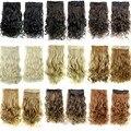 Largo ondulado 5 clips en la extensión, negro/marrón/rubio extensiones de cabello sintético, kanekalon ombre fish line extensiones de cabello