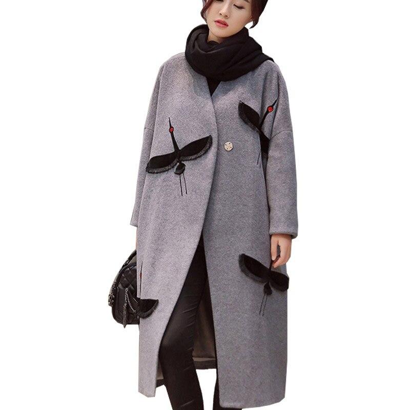 Las mujeres de invierno de lana mezcla capa largo prendas de vestir exteriores de lana de doble lado lana abrigo Trench acolchado grueso grúa bordado abrigo-in Lana y mezclas from Ropa de mujer    1