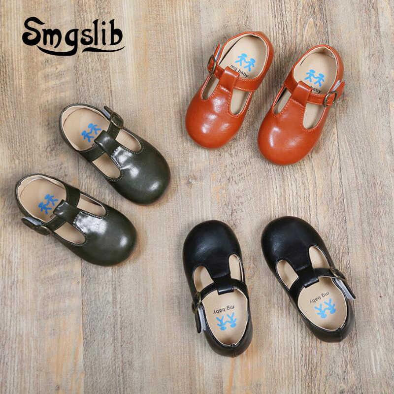 เด็กรองเท้าเด็ก PU รองเท้าหนังเด็ก Retro เด็กวัยหัดเดินสีดำสิทธิบัตรหนังเจ้าหญิง Tenis-infantil รองเท้า