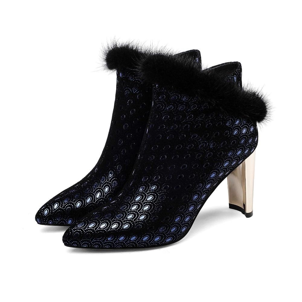 Feminine Fashion Heels Spitz Ankle Britischen Stil Kid 2019 Klassische Stiefel Neue Suede Nerz Pelz Big L63 wein rot Runway Size Zipper Blau High 66wO8