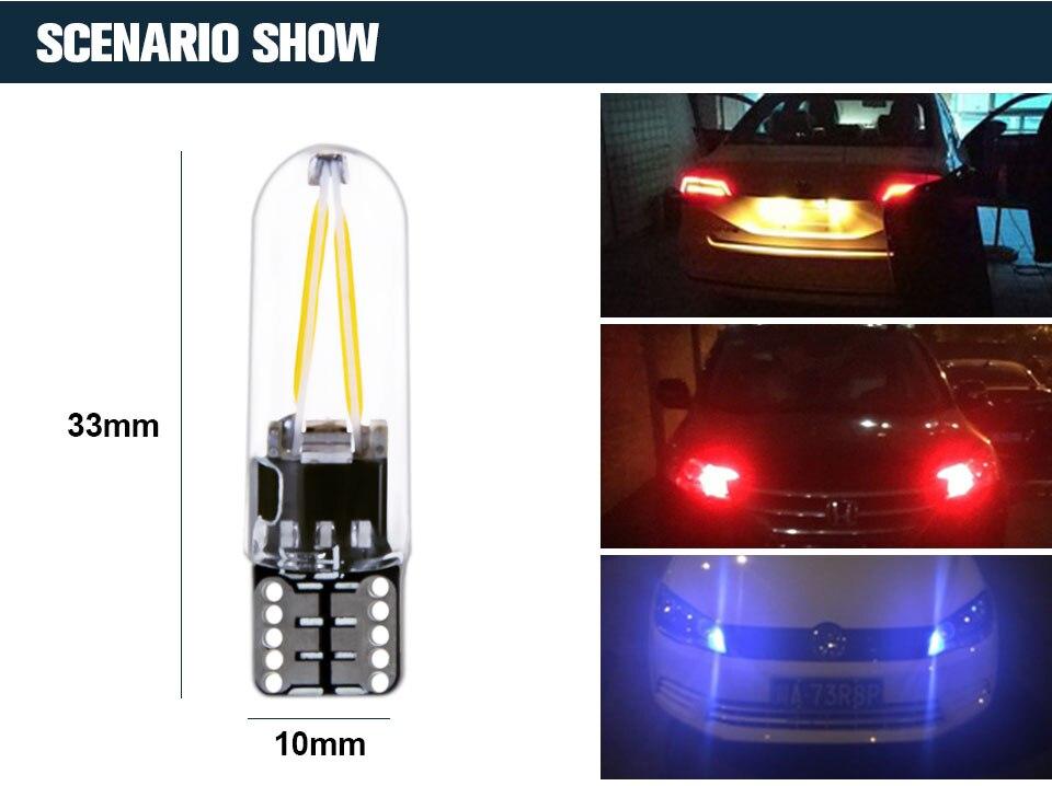 Foxcncar led W5W led T10 cob glass car light Led filament auto automobiles reading dome bulb lamp DRL car styling 12v  (5)