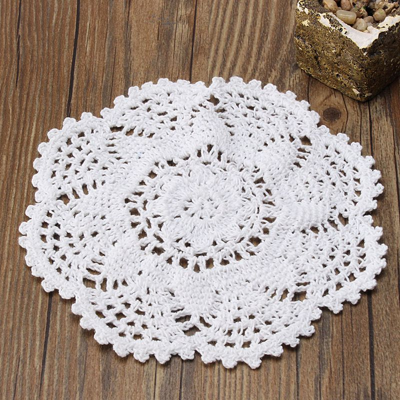 White Flower Placemat Table Mat Handmade Cotton Round Doily Cup Pads Doilies Crochet Lace Knit Coaster