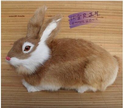 Grand jouet de lapin belle simulation polyéthylène et fourrures modèle de lapin jaune cadeau environ 33x16x20 cm 2425