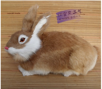 big lovely simulation rabbit toy polyethylene&furs yellow rabbit model gift about 33x16x20cm 2425