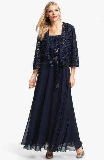 861c4eceef34b 2015 Plus Size Navy Blue Chiffon Lace Jacket Mother Bride Dress Suits Long  Sleeves with Ribbon Applique Formal Party Gowns Suits