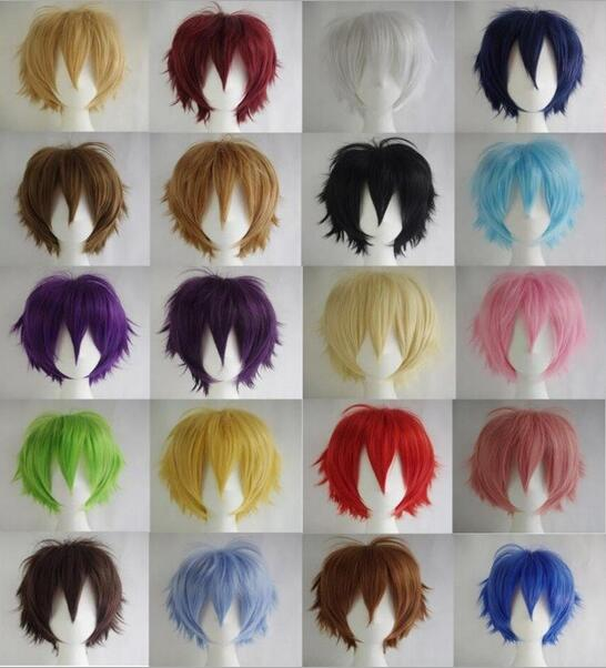 17 Colors Short Straight Hair Wig Anime Party Cosplay Full Sell Wigs Cap 35cm