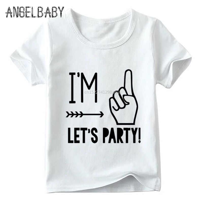 ผม 1/2/3/4/5 Let's Party ออกแบบเด็ก T เสื้อฤดูร้อนเสื้อยืดสีขาว Boy และสาววันเกิดของขวัญจำนวนพิมพ์เสื้อผ้า, ooo5214