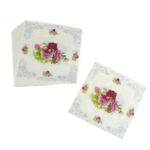 30x30cm 20Pcs Rose Flower Paper Napkin Tissue Napkins Decoration 30x30cm Paper Gifts Festive Party Supplies(China)