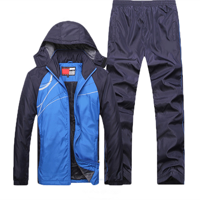 New Winter Sets Plus Velvet Men Sport Suits Sportswear Set Fitness Warm Tracksuit Zip Pocket Casual Suit Male's Clothing