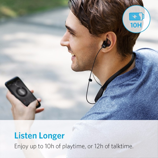 Anker SoundBuds Lite Bluetooth Headphones Built-in Mic Wireless Lightweight Neckband Headset IPX5 Water Resistant Sport Earphone