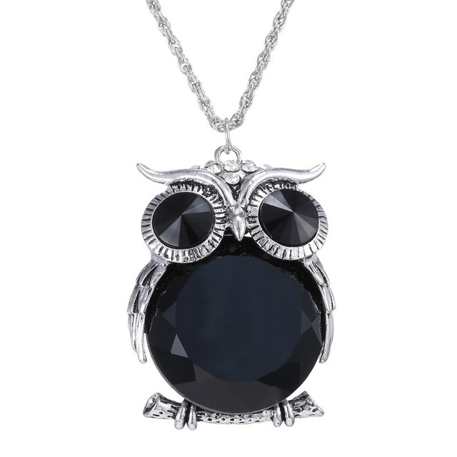 Long chain necklace for girl big black rhinestone necklaces cute long chain necklace for girl big black rhinestone necklaces cute crystal owl necklaces pendants for aloadofball Images