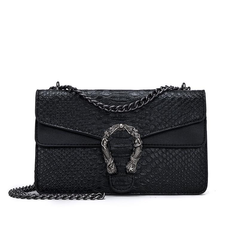 NEW Snake Fashion Brand Women Bag Alligator PU Leather Messenger Bag Designer Chain Shoulder Crossbody Bag Women Handbag-in Shoulder Bags from Luggage & Bags