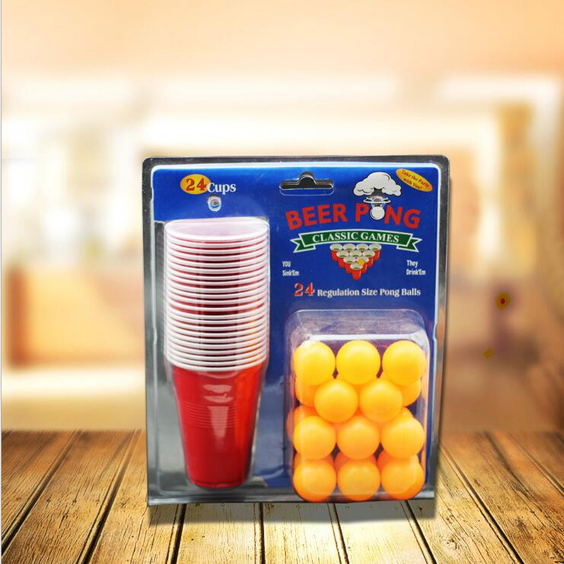 1 Set Beer Pong Kit Party Game Drinking Toy para Discoteca Bar Happy Hour Holiday Gag Toys Regalos de la novedad con 24pcs / 22pcs tazas