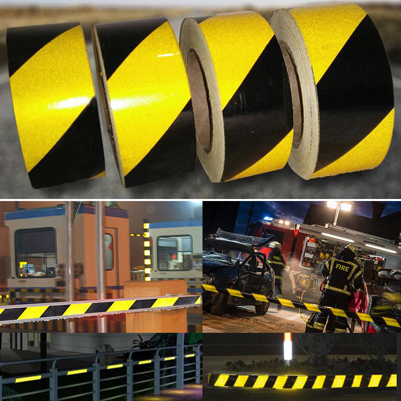 50mm X45m/Roll  Self-Adhesive PET Reflective Sticker Warning Strip Decal Corrosion Resistance