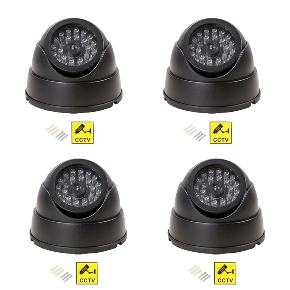 4pcs Fake Dummy Camera Surveillance Simulated Camera Dome CCTV Security With Flashing Led Light Outdoor Indoor