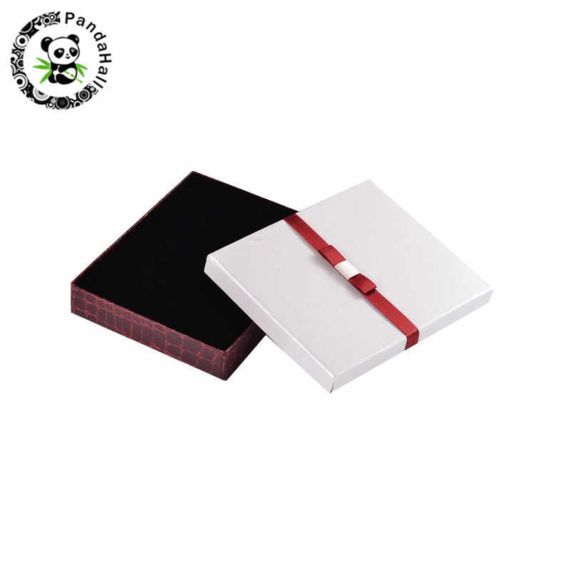 """12 Bow Satin Cardboard Necklace Gift Boxes Jewellery Packing Rectangle Case 8.3/"""""""