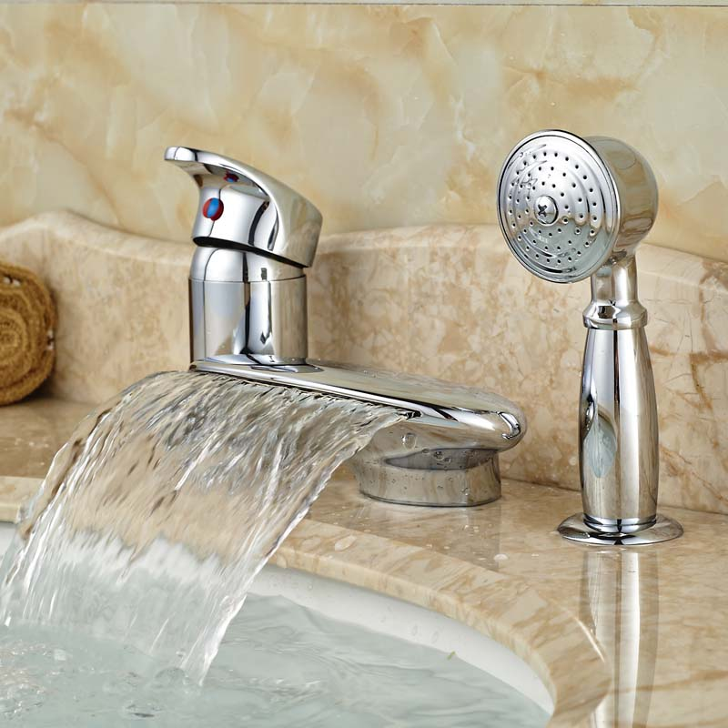 цена на 2016 New Promotion Best Quality Deck Mounted Basin Faucet for Bathroom with Handshower Polished