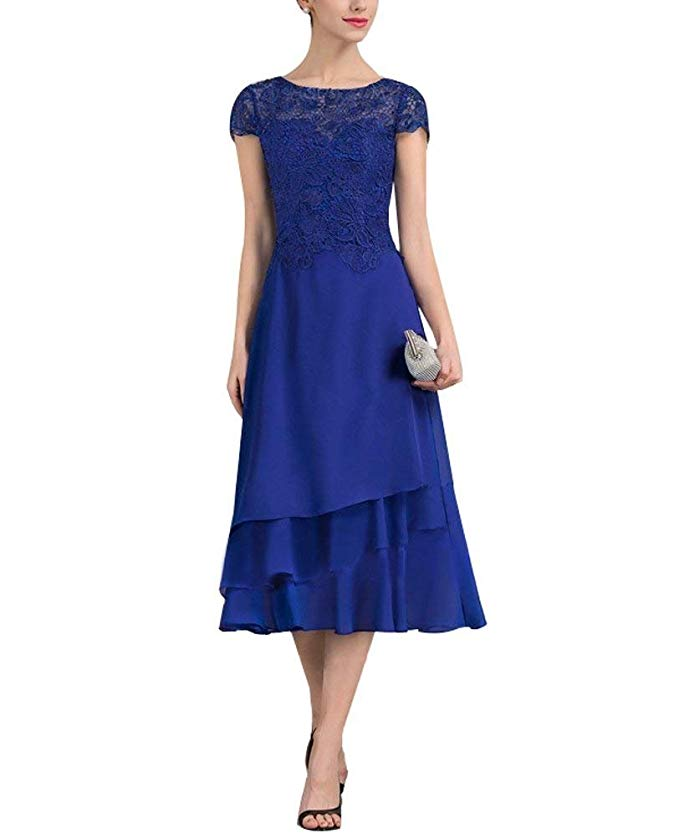 2019 Elegant Women's Tea Length Short Sleeves Mother Of The Bride Dress Vestidos De Madrinha