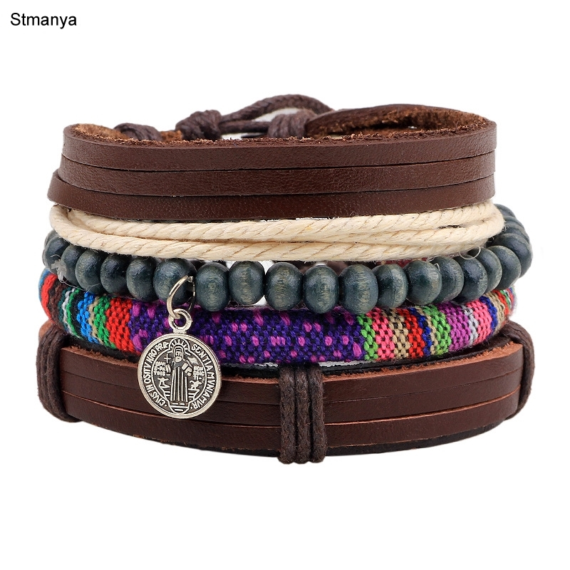 4pcs 1 Set Multilayer Retro Punk Genuine Wrap Leather Bracelets Men For Women Cuff Jewelry Accessories bangles 18142