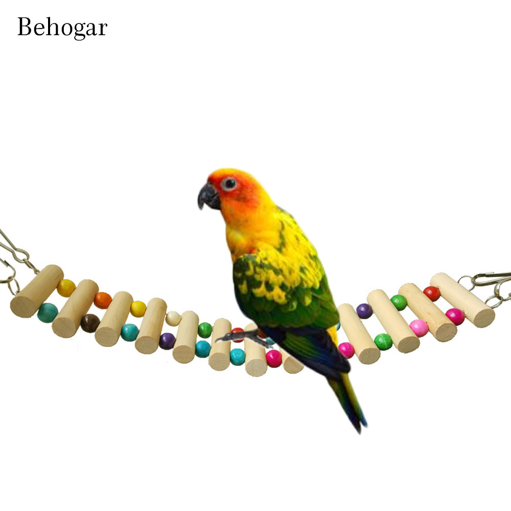 Wood Parrot Drawbridge Bird Ladder Climb Toys Small Pet Colorful Training With 4 Hooks Chewing Hanging Rope Toy For Parrots Bird Supplies