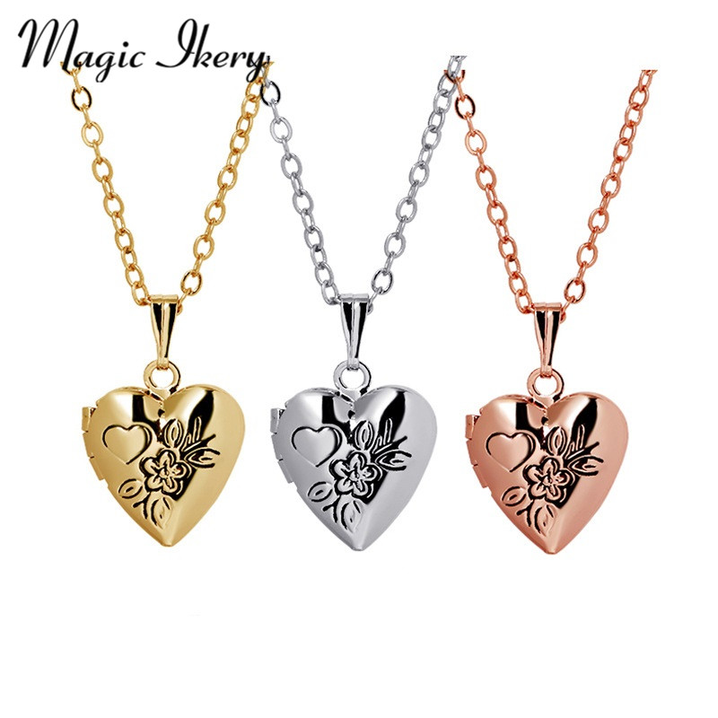Openable Floating Locket Pendant Necklace Photo Frame Jewelry For Women Couple Heart Gift YT-N311