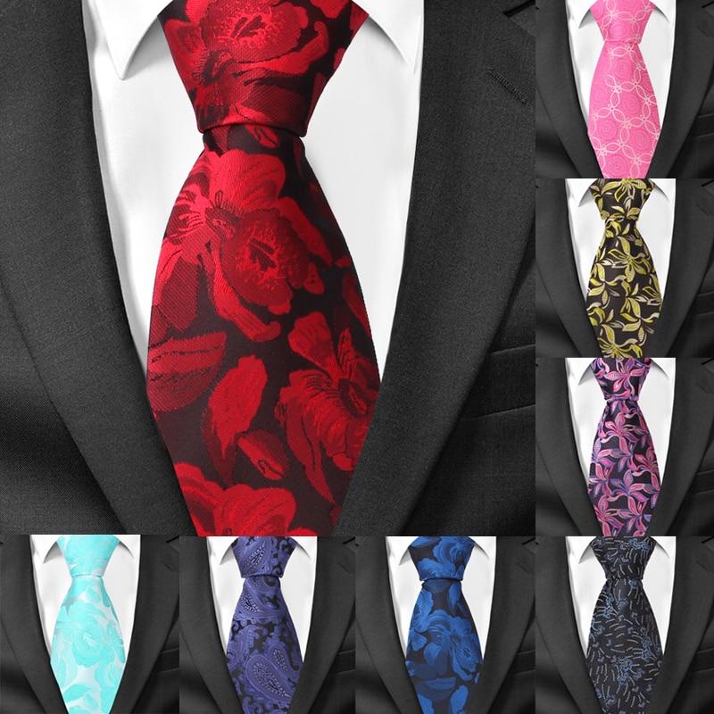 New Silk Ties For Men Jacquard Classic Floral Necktie For Suits Mens Business Neck Tie Cravats 8cm Width Groom Neckties
