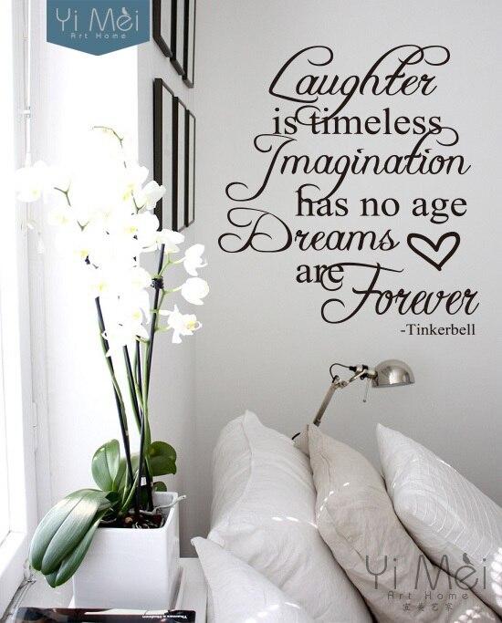 a852a15b8d2f1 Ev Dekorasyon için Tinkerbell Alıntı Kreş Duvar Sticker Çıkartması Vinil  Duvar Kağıdı Yatak Odası Oturma Odası 58*65 CM
