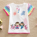 Flag 2016 summer baby&kids printed girl hand in hand fashion novel girls round collar girl t-shirts with short sleeves G6121