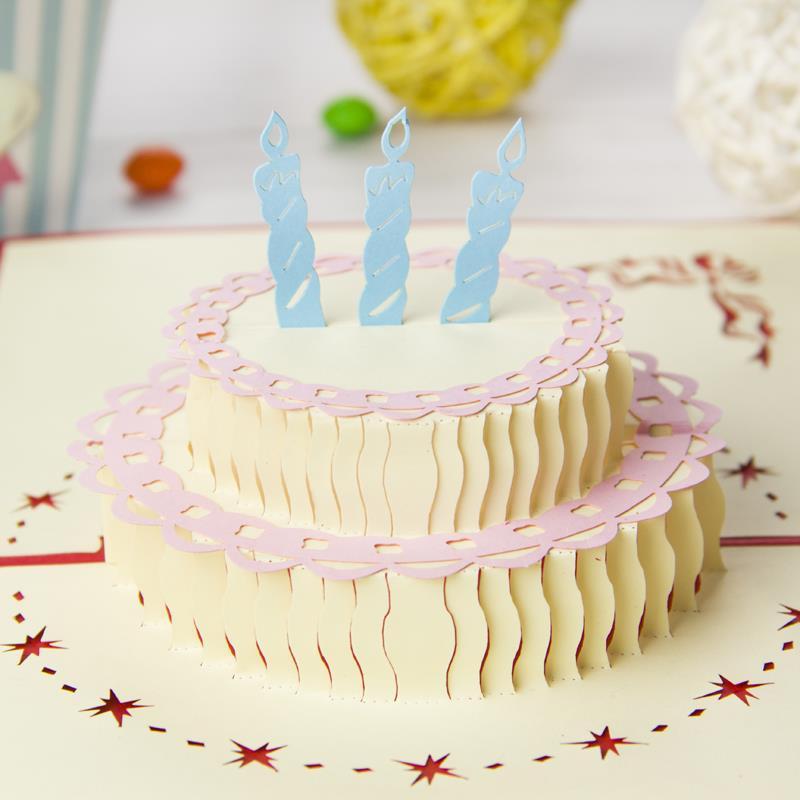 Happy Birthday Cake Handmade Creative Birthday 3D POP UP Greeting – Pop Up Birthday Cake Card